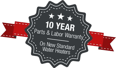 10 year ribbon parts and labor warranty on new standard water heaters