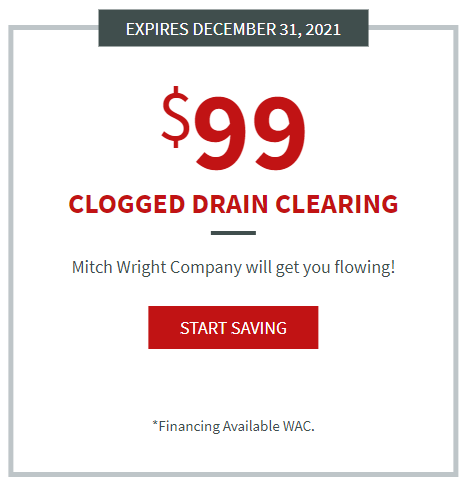 $99 clogged drain clearing coupon